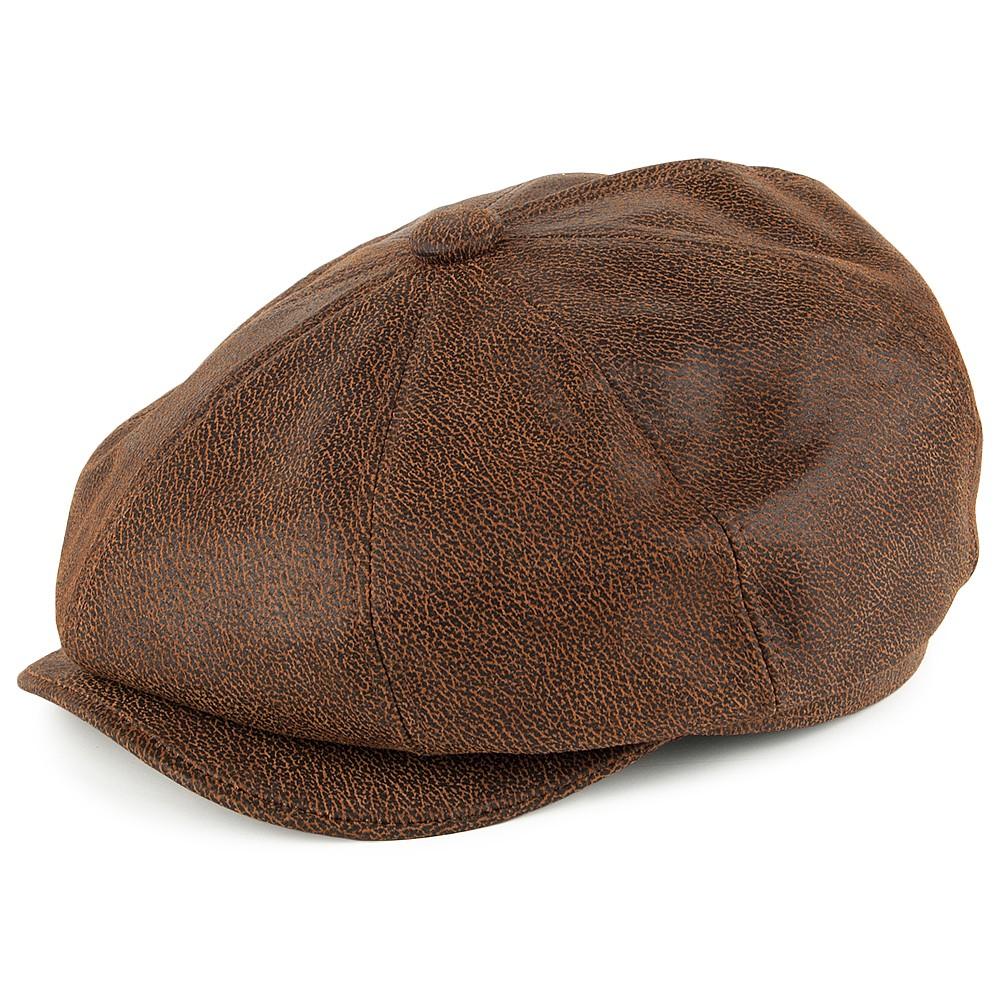 Sixpence / Flat cap - Jaxon Hats Leather Newsboy Cap (brun) - Sixpence / Flat caps - Herrehatter ...