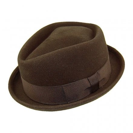Hatter - Diamond Crown Pork Pie Hat (brun)