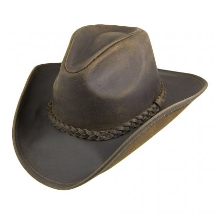 Hatter - Jaxon Hats Buffalo Leather Cowboy (brun)