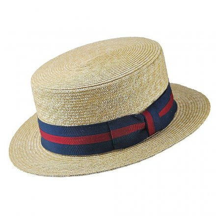 Hatter - Straw Boater Hat Striped Band (natur)