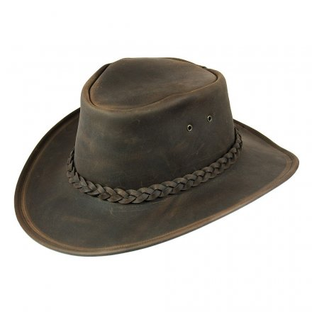 Hatter - Jaxon Hats Crushable Leather Outback (brun)
