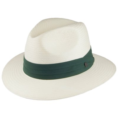Hatter - Jaxon Toyo Safari Fedora With Olive Band (hvit)