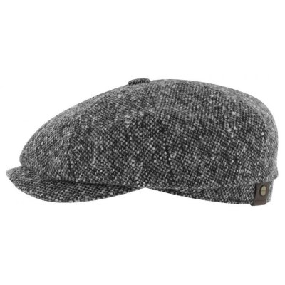 Sixpence / Flat cap - Stetson Hatteras Donegal Tweed (sort-hvit)