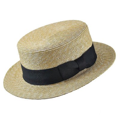 Hatter - Straw Boater Hat Black Band (natur)