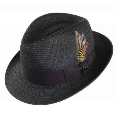 Hatter - Pinch Crown Straw Trilby (sort)