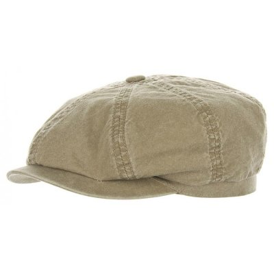 Sixpence / Flat cap - Stetson Hatteras Delave Organic Cotton (oliven)