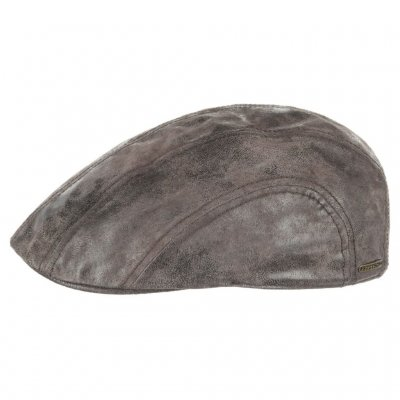 Sixpence / Flat cap - Stetson Madison Leather Flat Cap (brun)